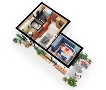 Квартира с большим балконом